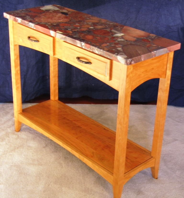 Granite Top Cherry Sofa Table With Shelf
